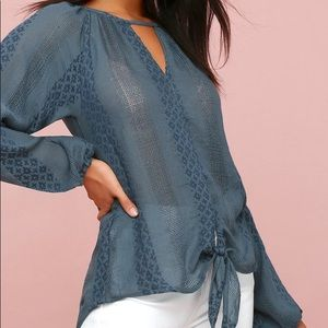 Tie front Alba embroidered peasant blouse boho top